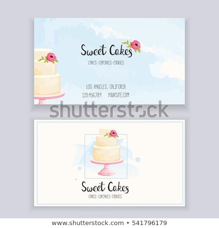 Cake, sweetness and flowers Stock photo © dashapetrenko