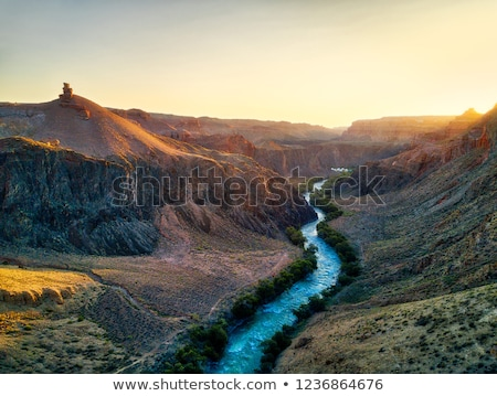 view through mountain cliffs of the sunrise stock photo © stryjek