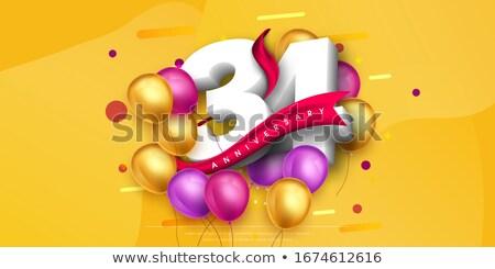 rojo · globos · cinta · número · 26 · fiesta - foto stock © zerbor