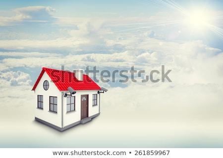 Biały dom czerwony dachu brązowy drzwi komin Zdjęcia stock © cherezoff