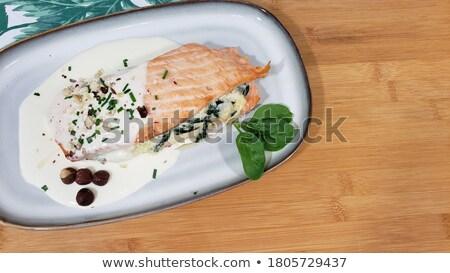 Toczyć łososia sos wasabi żywności Zdjęcia stock © OleksandrO
