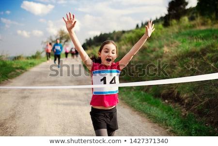 Maraton gyerekek illusztráció nő férfi fitnessz Stock fotó © adrenalina