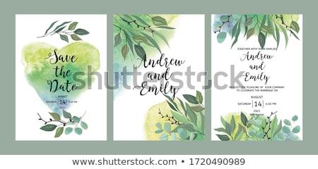 Esküvői meghívó keret elegáns szívek illusztráció terv Stock fotó © Irisangel