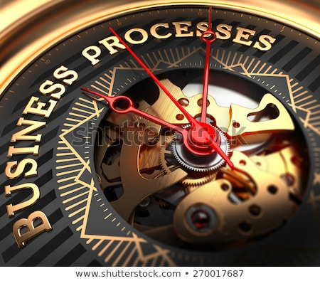 Foto stock: Process Automation On Black Golden Watch Face