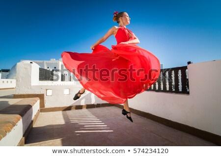 Genç kadın dans flamenko kırmızı elbise beyaz fan Stok fotoğraf © artjazz