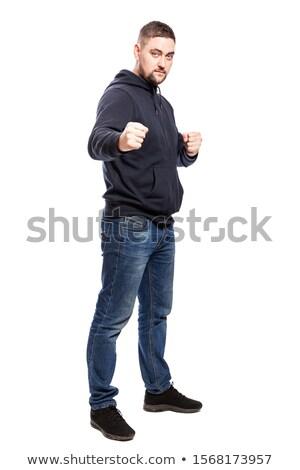 Portret boos man geïsoleerd Stockfoto © deandrobot
