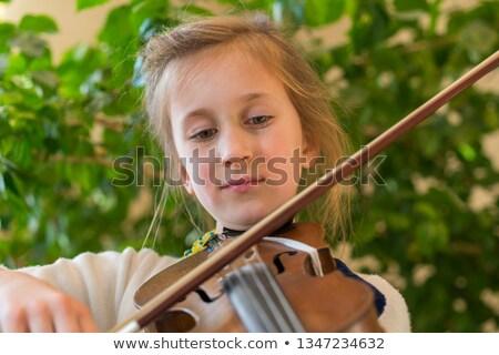 мало · скрипач · сидят · трава · девушки - Сток-фото © nizhava1956