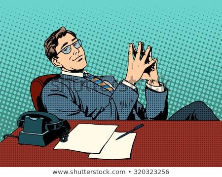Ironikus üzletember főnök üzlet profi munka Stock fotó © studiostoks