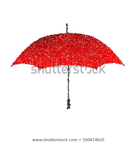 Dotted red umbrella. Engraving illustration. Stock photo © gladiolus