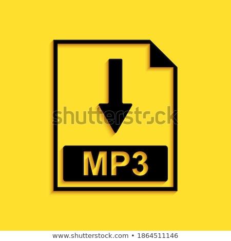 Mp3 téléchargement jaune vecteur icône design Photo stock © rizwanali3d