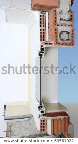 Homlokzat fal keresztmetszet igazi tégla kockák Stock fotó © lunamarina