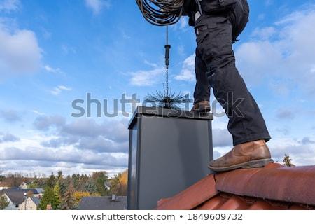 Schoorsteen foto huis dak hemel gebouw Stockfoto © Nneirda