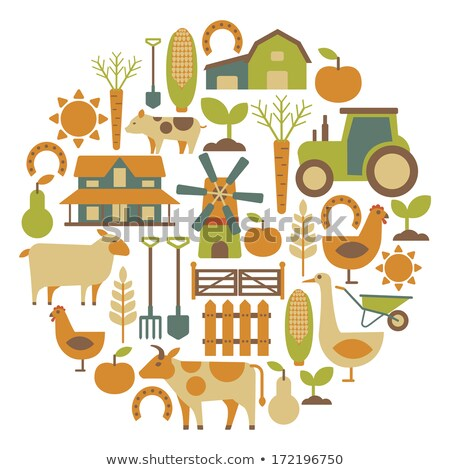 round card with farm related items stock photo © netkov1