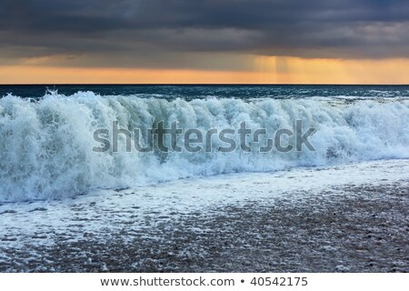 Sea coast with waves, wide angle; sun appeared through clouds Stock photo © Paha_L