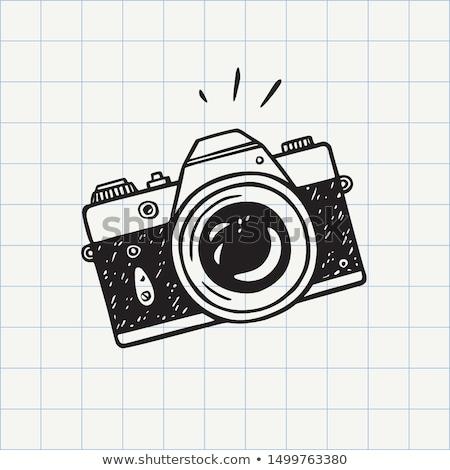 Firka kamera ikon kék toll kézzel rajzolt Stock fotó © pakete