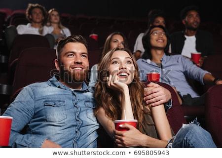Couple cinéma musique maison homme bleu Photo stock © Paha_L