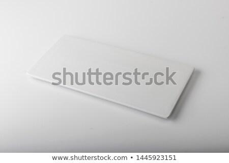 Retangular branco prato isolado restaurante tabela Foto stock © Givaga