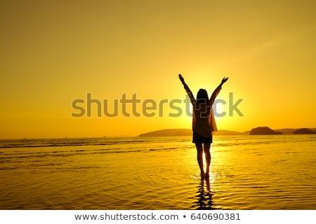 женщину · пляж · закат · весны · сезон · трава - Сток-фото © paha_l