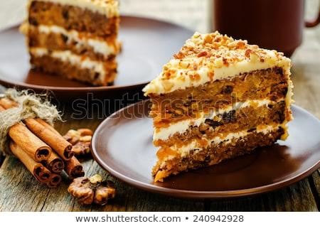 アプリコット ケーキ プリン クリーム フルーツ プレート ストックフォト © Digifoodstock