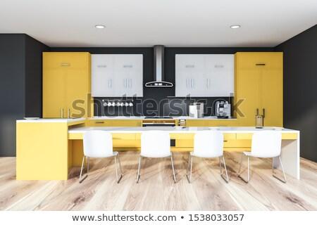 uzun · mutfak · ada · oda · lüks - stok fotoğraf © jrstock