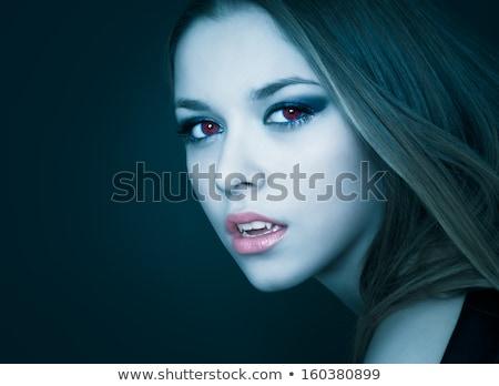 nő · vámpír · falat · arc · szexi · test - stock fotó © konradbak