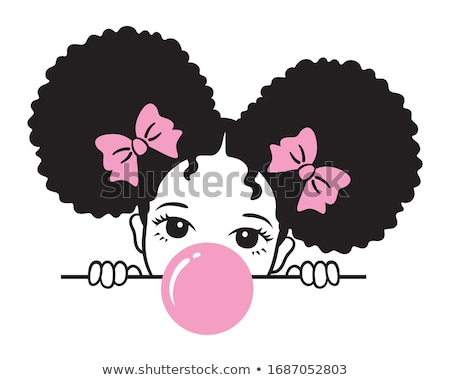 afro · ragazza · bella · donna · enorme · rosa - foto d'archivio © dash