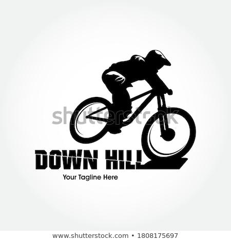 hegyi · kerékpár · sziluett · kész · erdő · nap · sport - stock fotó © blasbike