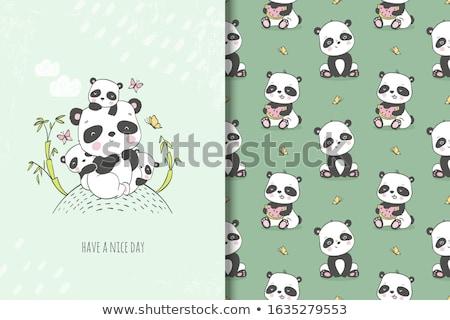 Család panda dzsungel fa erdő pár Stock fotó © adrenalina