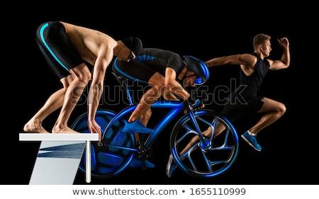 トライアスロン 選手 図面 白 フィットネス 背景 ストックフォト © bluering