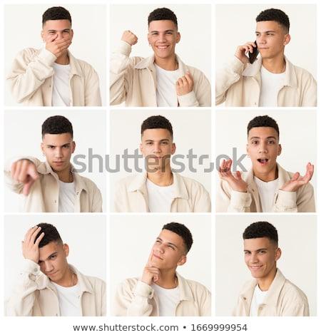 Conjunto expressões faciais diferente branco crianças fundo Foto stock © bluering
