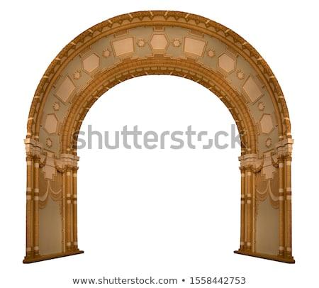 Gedetailleerd boog venster deur muur achtergrond Stockfoto © hpkalyani