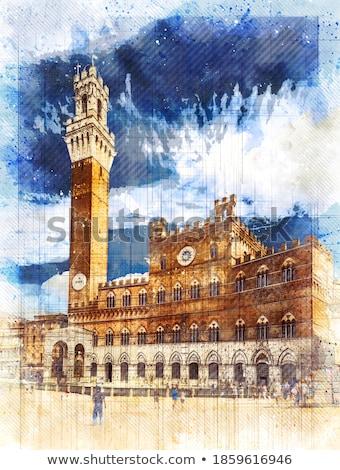 塔 · 町役場 · トスカーナ · イタリア · 市 · 旅行 - ストックフォト © digifoodstock