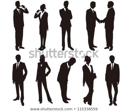 ストックフォト: ビジネスマン · 女性 · シルエット · 電話 · eps · 10