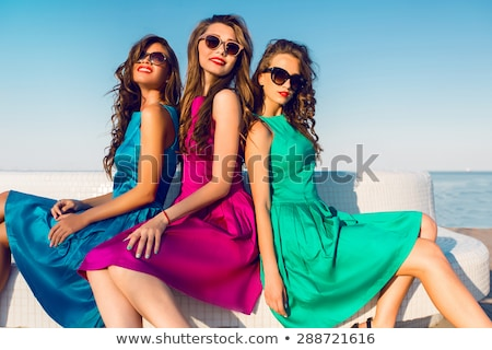 Stock fotó: Beauty Brunette Wearing Fashionable Dress