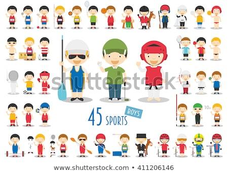 Stock fotó: Vicces · fiú · rajz · sportok · íjászat · gyerek