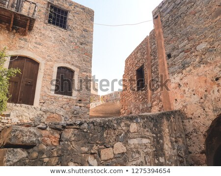 Stairs and walls in the Spinalonga island of Crete, Greece Stock photo © ankarb