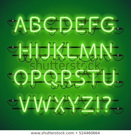 Neon calce verde alfabeto usato Foto d'archivio © Voysla