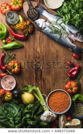 Сток-фото: Raw Seabass Fish On Wooden Background Top View