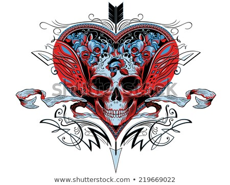 symmetrical tattoo of red roses Stock photo © blackmoon979