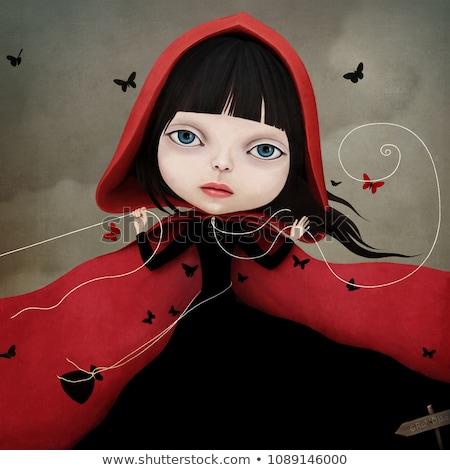 fiatal · hölgy · pillangók · színes · arc · pillangó - stock fotó © svetography