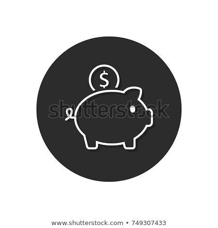 Piggy bank icon with reflection on a white background stock photo © Imaagio
