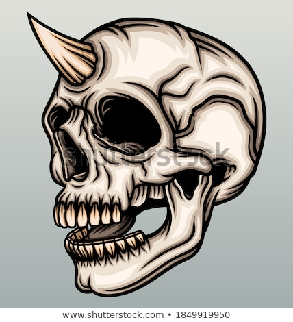 Skull, horned demon. Vector stock photo © Andrei_