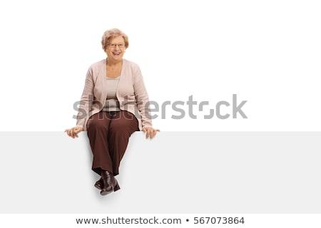 Stok fotoğraf: Olgun · kadın · oturma · poz · yalıtılmış · görüntü