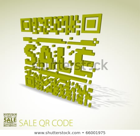 Photo stock: Vert · 3D · qr · code · point · vente · modernes