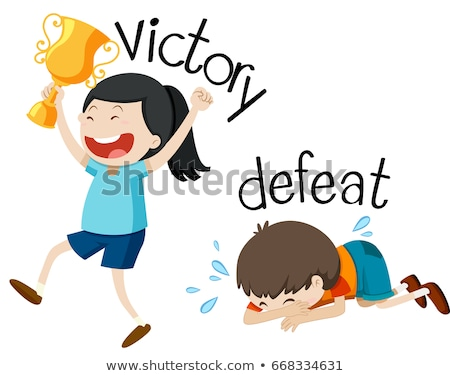 Opposite wordcard for victory and defeat Stock photo © bluering