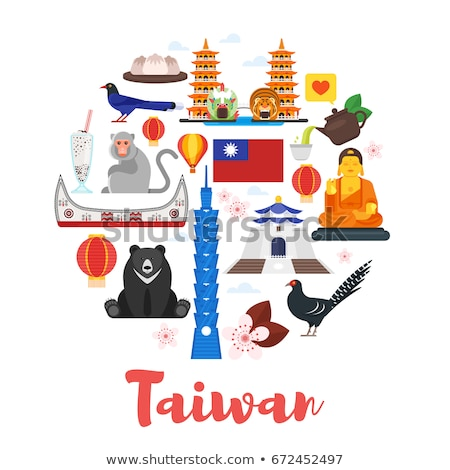 flat style composition of taiwan cultural symbols stock photo © curiosity
