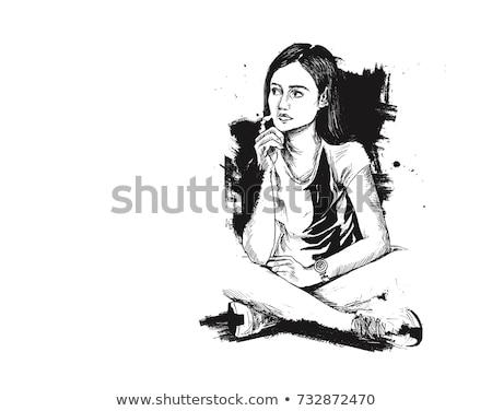 komoly · gondolkodik · nő · divat · illustrator · kép - stock fotó © deandrobot