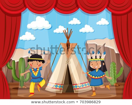 boy and girl playing native indians on stage stock photo © bluering