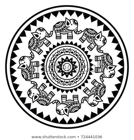 Indian mandala with elephants and abstract shapes, Mehndi - Indian Henna tattoo style vector pattern Stock photo © RedKoala