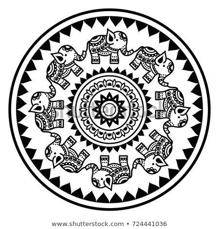 elefántok · indiai · stílus · végtelenített · textúra · stilizált - stock fotó © redkoala